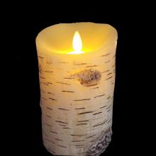 Flammenlose LED Birke Säule Kerzenset mit Timer