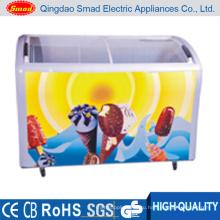 Коммерческие Изогнутое Стекло Двери Мороженое Дисплей Морозильник