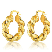Custom Hot Selling 18k Gold Plated Earrings Jewelry Fashion Spiral Style Stainless Steel Jewelry