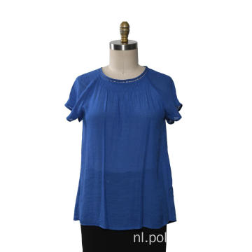 Damesblouse ruches korte mouwen geweven