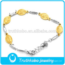 Stainless Steel Jewelry Wholesale Religious Virgin Mary Bracelet High Quality Silver Gold Catholic Bracelet Jewelry