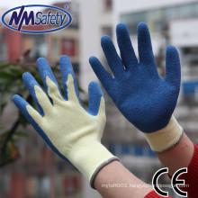 NMSAFETY 10 gauge cotton glove with latex girp work glove safety hand gloves