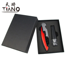 Wine waiters knife include cutter, bottle opener and corkscrew with vacuum pump/sealing wine stopper in black gift box,wine set