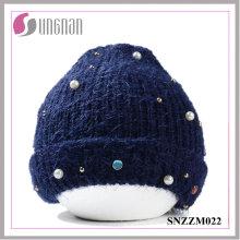 2016 cálida moda perla diamante precioso lana hilado Cap (SNZZM022)