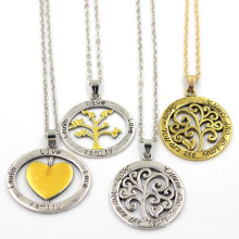 Round Hollow Stainless Pendant Jewelry Fashion Necklace