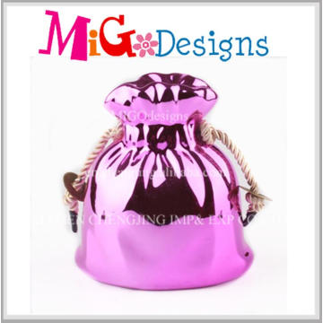 Low Price Ceramic Pink Plating Bag Wedding Money Box Top Sale