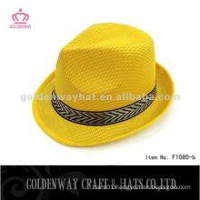 100% polyester Yellow Fedora Hat