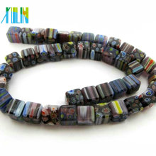 wholesale glass cube millefiori and floral beads DXLM012
