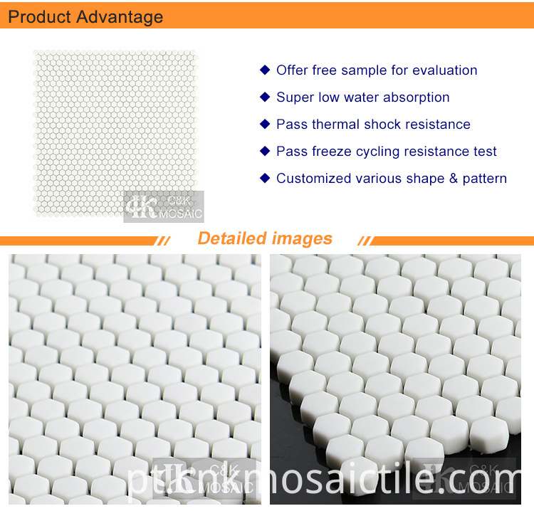 White Mini Hexagon Glass Mosaic Tile for Bathroom Wall