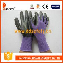 Violettes Nylon mit schwarzem Nitril-Handschuh-Dnn810