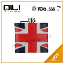 Embossing on leather hip flask vacuum flask Milan flag Flask