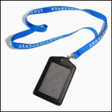 Personal Leder PU Name / ID Karte Abzeichen Reel Inhaber benutzerdefinierte Lanyard mit Clips (NLC009)