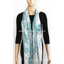 White Background Printed Modal Scarf