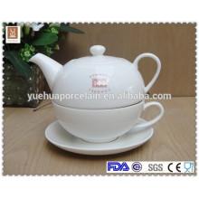 2015 novo design pote de chá de porcelana branca e pires copo de chá conjunto