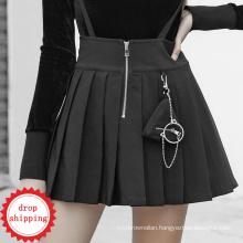 Steampunk Pleated women dress braces sleeveless short mini skirt black teen club casual dresses OPQ477 wholesale pric PUNK RAVE