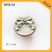 MFB34 Western custom jeans antique brass metal ladies shirt coat button 17mm