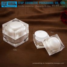 La serie de YJ-KS 15g 30g 50g cúbico cuadrado de acrílico crema tarro cosmético