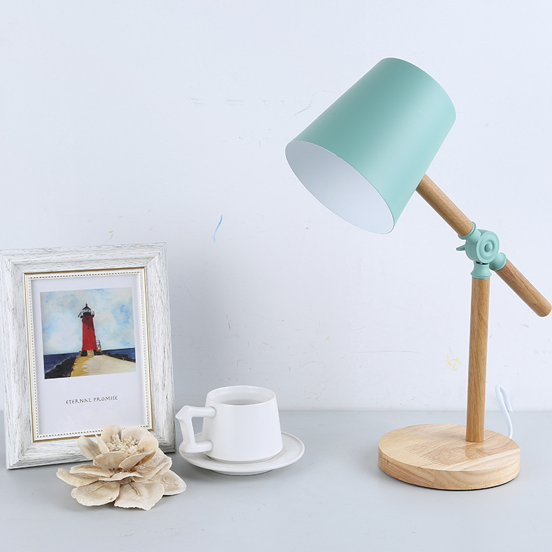 Bule Wooden Table Lamps