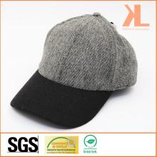 Polyester & Wool Quality Tweed Warm Plain Gray & Black Baseball Cap