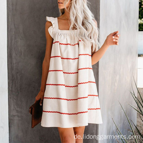 Knielange Summer Square Collar Ruffle Shoulder