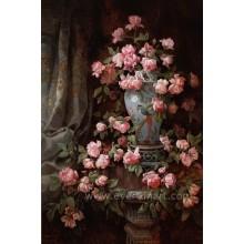 100% handgemachtes Öl auf Leinwand Klassische Blumen-Ölgemälde für Hauptdekoration (ECH-104)