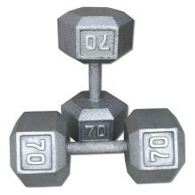 70LB ferro fundido Hex Dumbbell