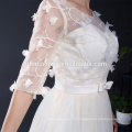 2017 Мода 1/2 Рукава Вышитые Аппликация Тюль Короткие Желтые Платья Невесты Вечернее Ужин Платье