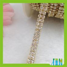 2 linhas de base de ouro cadeia copo diamante
