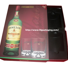 Высокое качество вина и двух бокалов Комплект упаковки Подарочный ящик с флокированием