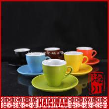 Набор чашек кофе и 6 цветных блюдец