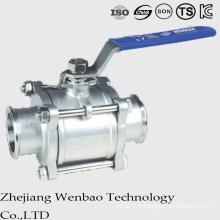 3PC Qucik a installé le robinet à tournant sphérique sanitaire d'acier inoxydable manuel avec la poignée