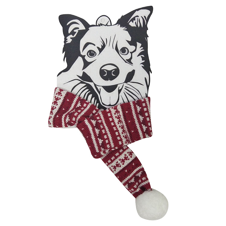 Christmas dog knit scarf red 2