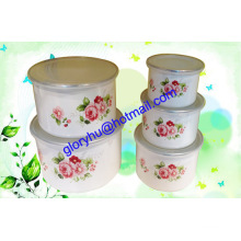 enamel bowl sets with PP lid and mirror polish