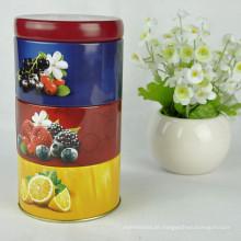 Caixa de lata para biscoitos / Caixa de lata redonda / Caixa de lata de biscoito de Natal