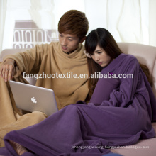 100% double-sided plush Snuggie TV blanket with sleeves