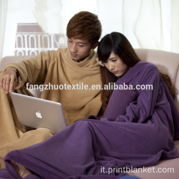 Coperta Snuggie TV 100% in peluche double face con maniche