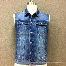 Jaqueta de bolso de algodão duplo denim masculino colete