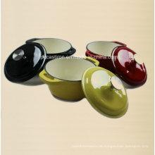 3PCS Emaille Gusseisen Kochgeschirr Set mit Edelstahl Knopf