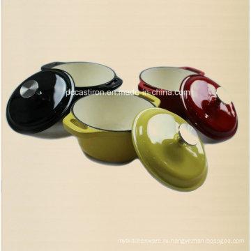 3PCS эмалированная чугунная посуда с ручкой из нержавеющей стали