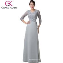 Grace Karin Grey Mother of Brides Robes Robe de soiree en dentelle en mousseline de soie CL6247