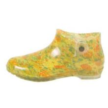 Короткие женские ПВХ дождя сапоги с желтым цветов печати подкладки