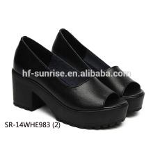 SR-14WHE983 (2) las mujeres negras del cuero genuino calzan los zapatos de las señoras de la manera los zapatos al por mayor del alto talón de las señoras