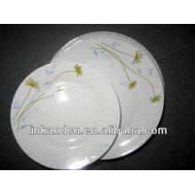 Haonai 12pcs dubai white porcelain dinner plate set