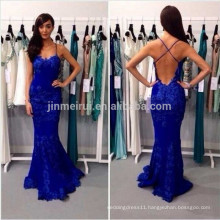 Robe De Soiree 2016 Sexy Spaghetti Strap Lace Mermaid Eevning Party Gowns Criss Cross Strap Backless Prom Vestidos Longo