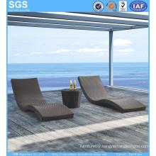 Modern Design Outdoor Hotel Furniture Wave Daybed Rattan Sun Lounger