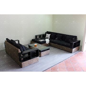 Luxury Wicker Furniture Water Hyacinth Sofa Set for Indoor Living Room