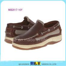 Sapatos de barco de couro impermeável de novo design