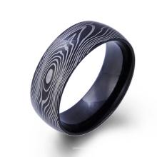 Custome acero inoxidable hombre negro anillos anillo de veta fibra de carbono Custome acero inoxidable hombre negro anillos anillo de veta fibra de carbono
