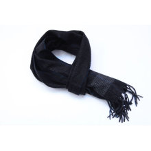 100%CASHMERE STRIPED PATTERN WOVEN SCARF