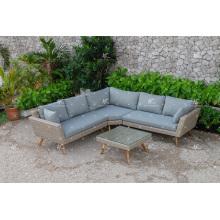 Nuevo diseño de moda de resina sintética sofá de ratán para patio de jardín al aire libre o muebles de sala de estar de mimbre